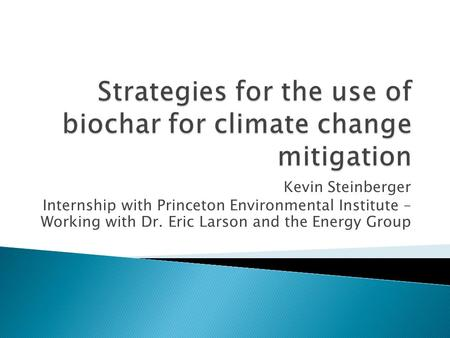 Kevin Steinberger Internship with Princeton Environmental Institute – Working with Dr. Eric Larson and the Energy Group.