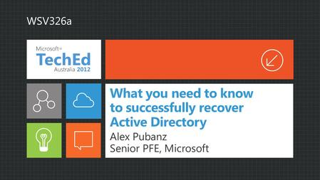 What you need to know to successfully recover Active Directory Alex Pubanz Senior PFE, Microsoft WSV326a.