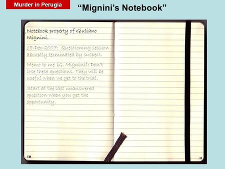 "Murder in Perugia ""Mignini's Notebook"". The objective of this presentation is to review questions which may be of use to ask Amanda Knox in her courtroom."