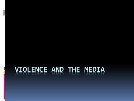 The problem  America is an especially violent country in terms of interpersonal violence  American popular culture contains a lot of depictions of violence.