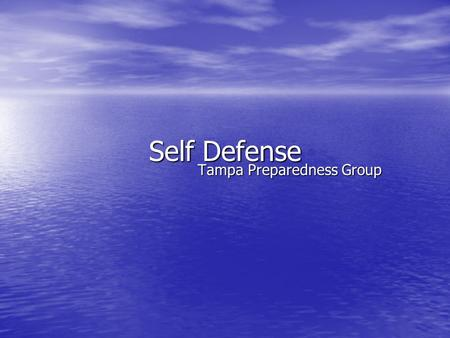 Self Defense Tampa Preparedness Group. Purpose Disaster situations have occasionally resulted in scenarios that resulted in physical assaults. Disaster.