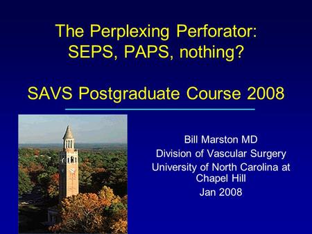 The Perplexing Perforator: SEPS, PAPS, nothing? SAVS Postgraduate Course 2008 Bill Marston MD Division of Vascular Surgery University of North Carolina.