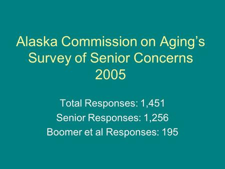 Alaska Commission on Aging's Survey of Senior Concerns 2005 Total Responses: 1,451 Senior Responses: 1,256 Boomer et al Responses: 195.