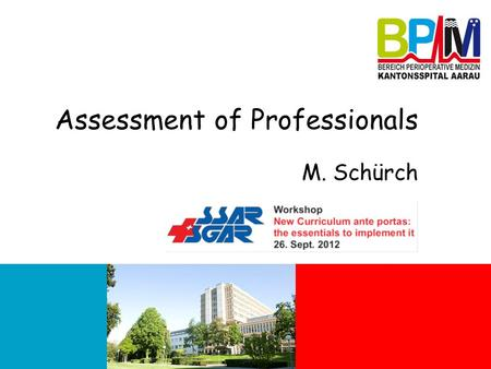 Assessment of Professionals M. Schürch. How do you assess performance? How do you currently assess the performance of your residents? What standards do.