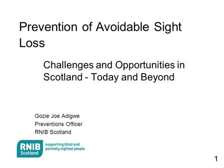 1 Prevention of Avoidable Sight Loss Challenges and Opportunities in Scotland - Today and Beyond Gozie Joe Adigwe Preventions Officer RNIB Scotland.