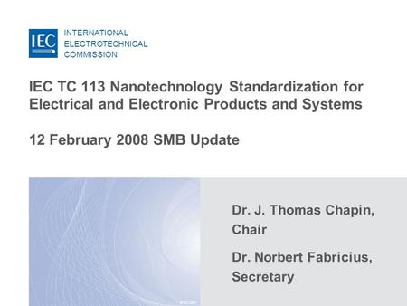 INTERNATIONAL ELECTROTECHNICAL COMMISSION © IEC:2007 IEC TC 113 Nanotechnology Standardization for Electrical and Electronic Products and Systems 12 February.