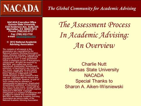 The Assessment Process In Academic Advising: An Overview