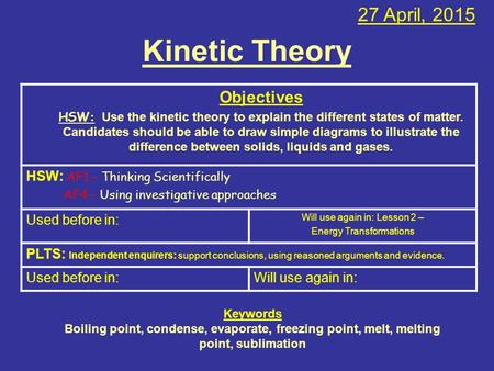 Kinetic Theory 27 April, 2015 Objectives HSW: Use the kinetic theory to explain the different states of matter. Candidates should be able to draw simple.