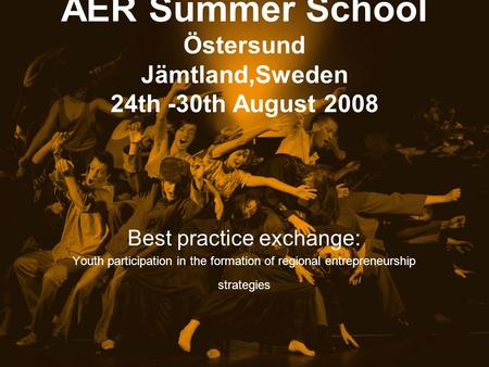 AER Summer School Östersund Jämtland,Sweden 24th -30th August 2008 Best practice exchange: Youth participation in the formation of regional entrepreneurship.