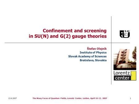 13.4.2007The Many Faces of Quantum Fields, Lorentz Center, Leiden, April 10-13, 20071 Confinement and screening in SU(N) and G(2) gauge theories Štefan.