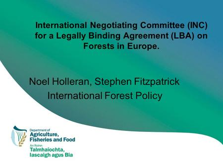 International Negotiating Committee (INC) for a Legally Binding Agreement (LBA) on Forests in Europe. Noel Holleran, Stephen Fitzpatrick International.