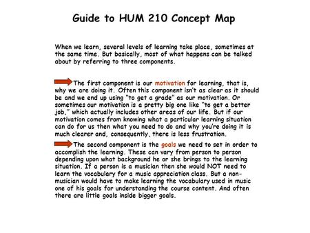 Guide to HUM 210 Concept Map When we learn, several levels of learning take place, sometimes at the same time. But basically, most of what happens can.