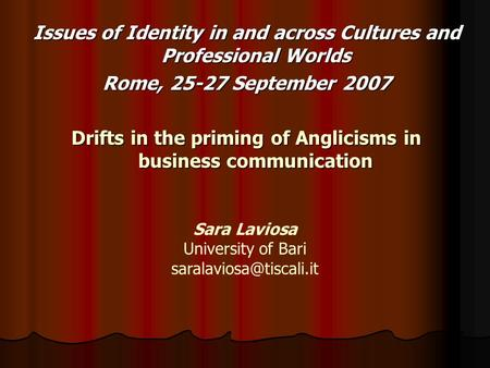 Issues of Identity in and across Cultures and Professional Worlds Rome, 25-27 September 2007 Drifts in the priming of Anglicisms in business communication.