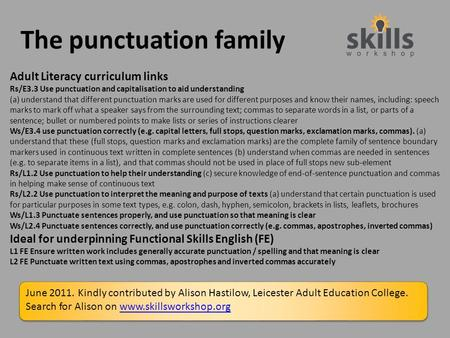 The punctuation family Adult Literacy curriculum links Rs/E3.3 Use punctuation and capitalisation to aid understanding (a) understand that different punctuation.