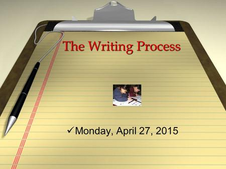 The Writing Process Monday, April 27, 2015 ZWhat should I write about? ZIs my topic too broad? ZWhat do I know about the topic? ZWhere can I find more.