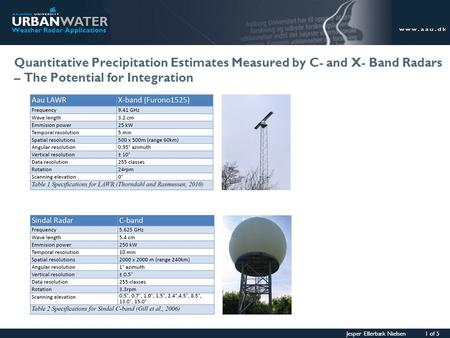 Jesper Ellerbæk Nielsen 1 of 5 URBANWATER Weather Radar Applications Quantitative Precipitation Estimates Measured by C- and X- Band Radars – The Potential.