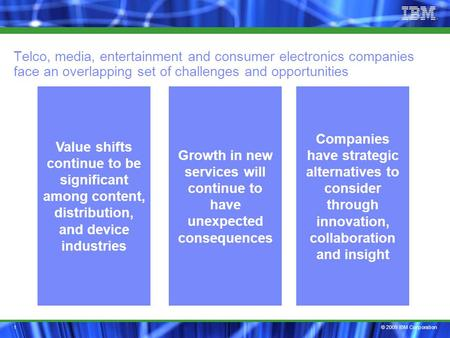 © 2009 IBM Corporation1 Telco, media, entertainment and consumer electronics companies face an overlapping set of challenges and opportunities Companies.