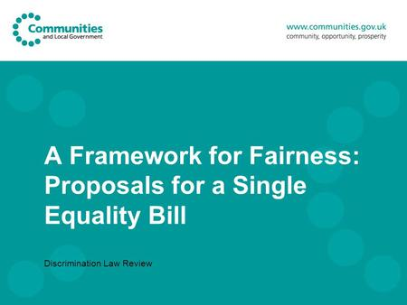 A Framework for Fairness: Proposals for a Single Equality Bill Discrimination Law Review.