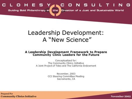 "<strong>Leadership</strong> <strong>Development</strong>: A ""New Science"" A <strong>Leadership</strong> <strong>Development</strong> Framework to Prepare Community Clinic Leaders for the Future Conceptualized for: The Community."