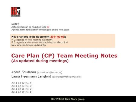 Care Plan (CP) Team Meeting Notes (As updated during meetings) André Boudreau Laura Heermann Langford