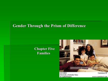Gender Through the Prism of Difference Chapter Five Families Families.