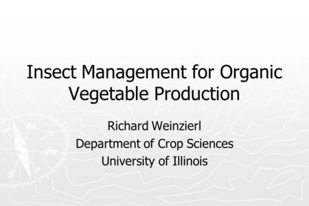 Insect Management for Organic Vegetable Production