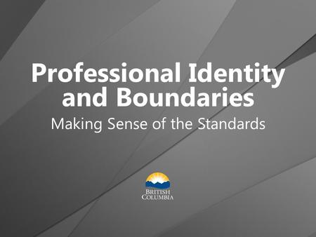 Professional Identity and Boundaries Making Sense of the Standards.
