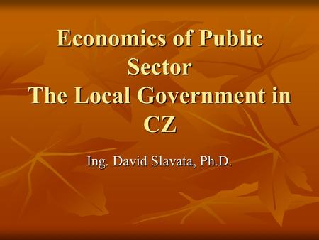 Economics of Public Sector The Local Government in CZ Ing. David Slavata, Ph.D.