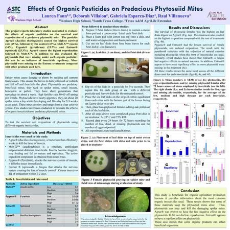 Abstract This project reports laboratory studies conducted to evaluate the effects of organic pesticides on the survival and reproduction of a predatory.