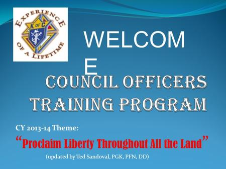 COUNCIL OFFICERS TRAINING pROGRAM