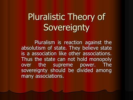 Pluralistic Theory of Sovereignty