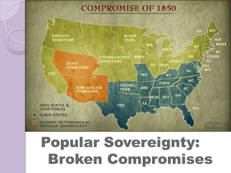 Popular Sovereignty: Broken Compromises. Introduction  As the United States continued to expand (Mexican-American War), debates over where slavery should.