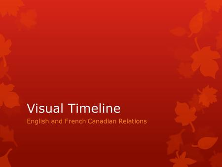 Visual Timeline English and French Canadian Relations.