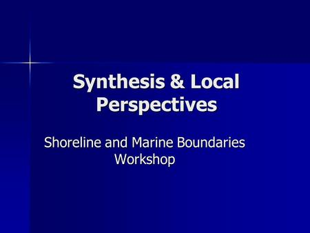 Synthesis & Local Perspectives Shoreline and Marine Boundaries Workshop.