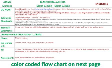 ATAMSBLAST DIGITAL AGENDA ENGLISH 11 Marquez March 5, 2012— March 9, 2012 DO NOW: Journal Entry #8 ( this to If you were.