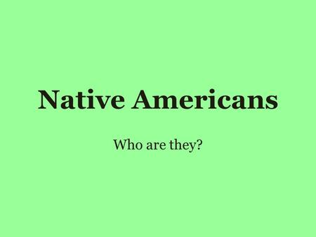 Native Americans Who are they?. Their People Native American Culture They live in tribes, or groups of people like a large family. Use colors and animals.