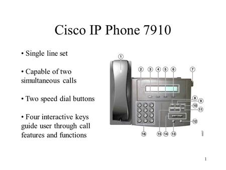 1 Cisco IP Phone 7910 Single line set Capable of two simultaneous calls Two speed dial buttons Four interactive keys guide user through call features and.