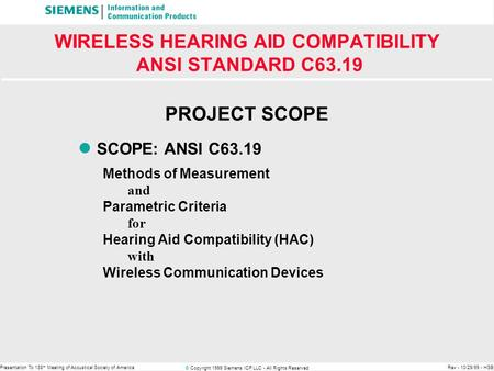 © Copyright 1999 Siemens ICP LLC - All Rights Reserved Presentation To 138 th Meeting of Acoustical Society of AmericaRev - 10/29/99 - HSB WIRELESS HEARING.