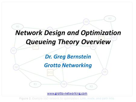 Network Design and Optimization Queueing Theory Overview Dr. Greg Bernstein Grotto Networking www.grotto-networking.com.