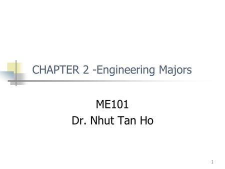 CHAPTER 2 -Engineering Majors