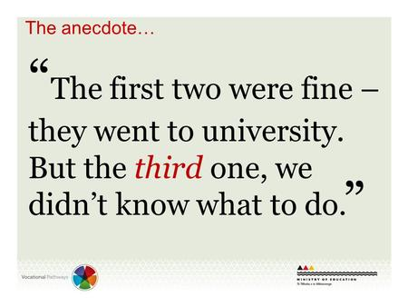 """ The first two were fine – they went to university. But the third one, we didn't know what to do. "" The anecdote…"