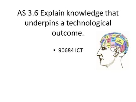 AS 3.6 Explain knowledge that underpins a technological outcome. 90684 ICT.