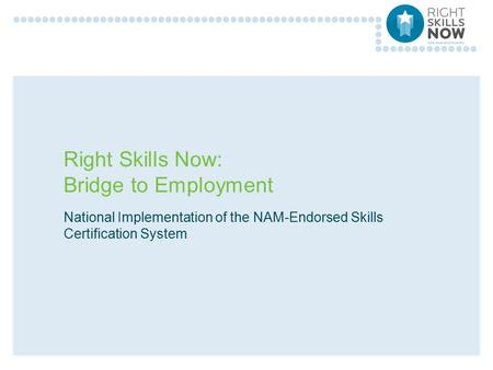 Right Skills Now: Bridge to Employment National Implementation of the NAM-Endorsed Skills Certification System.