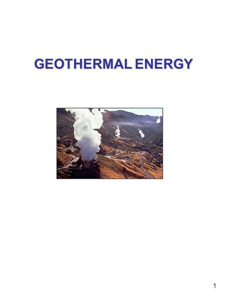 1 GEOTHERMAL ENERGY. 2 Geothermal power is generated by mining the earth's heat. In areas with high temperature ground water at shallow depths, wells.