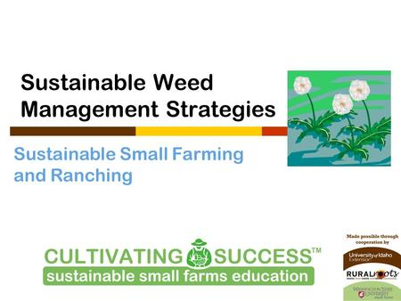Sustainable Small Farming and Ranching Sustainable Weed Management Strategies.
