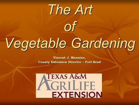 The Art of Vegetable Gardening The Art of Vegetable Gardening Vincent J. Mannino, County Extension Director – Fort Bend.