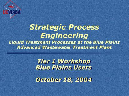 Strategic Process Engineering Liquid Treatment Processes at the Blue Plains Advanced Wastewater Treatment Plant Tier 1 Workshop Blue Plains Users October.