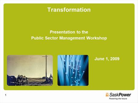 1 Transformation Presentation to the Public Sector Management Workshop June 1, 2009 1.