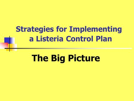Strategies for Implementing a Listeria Control Plan The Big Picture.
