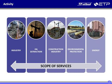 Activity INDUSTRY OIL EXTRACTION CONSTRUCTION INDUSTRY ENVIRONMENTAL PROTECTION ENERGY SCOPE OF SERVICES 1.